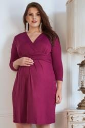 BUMP IT UP MATERNITY Magenta Wrap Over Jersey Dress
