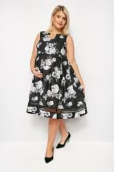 BUMP IT UP MATERNITY Zwarte skaterjurk met bloemenprint