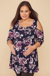 BUMP IT UP MATERNITY Navy & Purple Floral Print Cold Shoulder Top