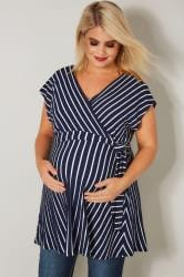 BUMP IT UP MATERNITY Navy & White Striped Wrap Top
