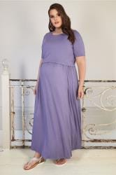 BUMP IT UP MATERNITY Purple Maxi Dress With Nursing Function