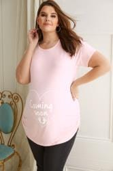 BUMP IT UP MATERNITY Pink Top With White 'Coming Soon' Print