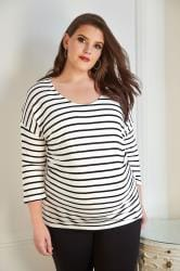 BUMP IT UP MATERNITY Zwart-wit gestreept voedingsshirt