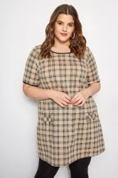 Beige Check Tunic Dress