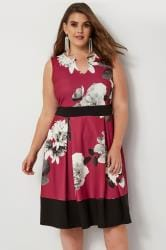 Berry Lily Print Skater Dress