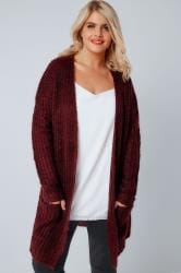 Berry Longline Chunky Knit Cardigan With Pockets