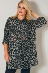Black Leopard Print Longline Double Pocket Shirt
