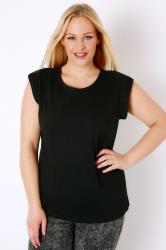 Black Basic T-Shirt With Turn-Back Short Sleeves