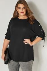Black Batwing Top With Eyelet Lace Sleeves