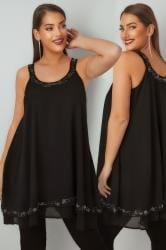 Black Bead & Stone Embellished Longline Layered Vest Top