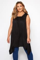 Black Beaded Hanky Hem Vest Top