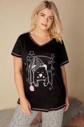 Black Bear Print Pyjama Top