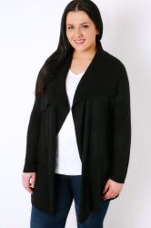 Black Belted Knit Cardigan With Ribbed Collar