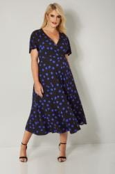 Black & Blue Polka Dot Print Jersey Wrap Dress With Waist Tie