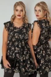 Black & Brown Floral Print Longline Top With Frilled Details & Elasticated Waist