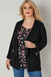 Black Bubble Crepe Blazer Jacket With Zip Pockets