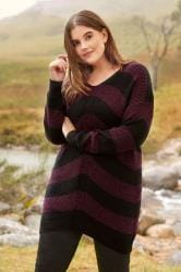 Black & Burgundy Chevron Knit Jumper