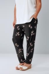 Black Butterfly Print Jersey Harem Trousers With Pockets