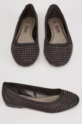 Black COMFORT INSOLE Ballerina Pumps With Diamante Detail In EEE Fit