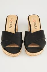 Black Crossover Cork Wedge Sandals In EEE Fit