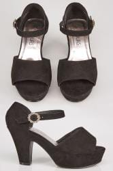 Black Open Toe Platform Heels With Diamante Buckle In EEE Fit