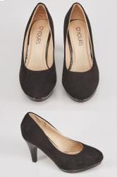 Black COMFORT INSOLE Suedette Court Shoes In EEE Fit