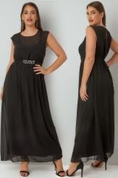 YOURS LONDON Black Chiffon Maxi Dress With Embellished Tie Waist & Split Back
