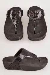 Black Chunky Toe Post Sandals With Black Sequin Detail In EEE Fit