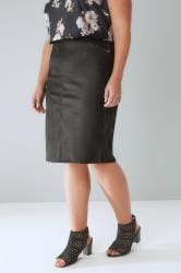 Black Coated Pencil Skirt With Elasticated Waist