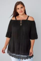 Black Cold Shoulder Crinkle Top With Frill Sleeves