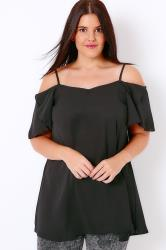 Black Cold Shoulder Gypsy Top