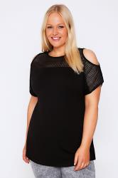 Black Cold Shoulder Top With Mesh Panels