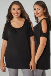 Black Cold Shoulder Top With Ruched Neckline