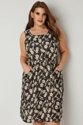 Black & Cream Floral Print Pocket Dress With Elasticated Waist