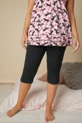 Black Crop Pyjama Bottoms With Lace Trim