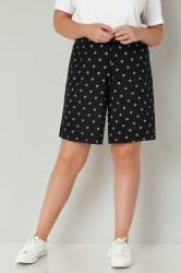 Black Diamond Print Jersey Pull On Shorts