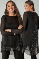 Black Dipped Hem Longline Top With Star Print Panels