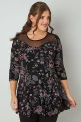 Black Embroidered Print Peplum Top With Mesh Panel