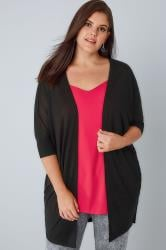 Black Fine Knit Drape Cardigan