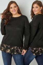 Black Fine Knit 2 in 1 Layered Jumper With Floral Print Woven Hem