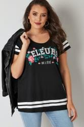 Black 'Fleurs' Varsity T-Shirt With Floral Print