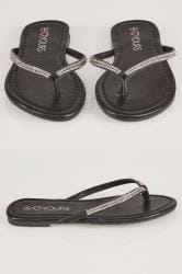Black Flip Flop With Diamante Trim In TRUE EEE Fit