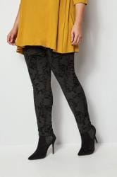 Black Flocked Velvet Leggings