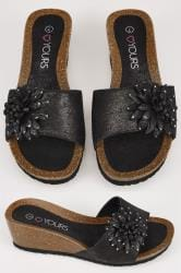 Black Floral Applique Wedge Sandals In EEE Fit