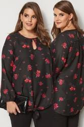 Black Floral Blouse With Tie-Front