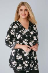 YOURS LONDON Black Floral Daisy V-Neck Blouse With Roll Up Sleeves & Pocket Detail
