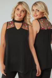 Black Floral Embroidered Mesh Peplum Top With Choker Neck