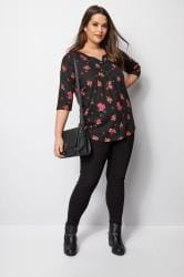 Black Floral Pintuck Jersey Top