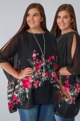 Black Floral Print Chiffon Cold Shoulder Cape Top