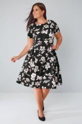 Black Floral Print Skater Dress With Pleated Skirt